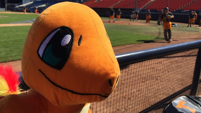 The University of Tennessee baseball team adopted an orange stuffed animal as its mascot during the team's recent road trip.