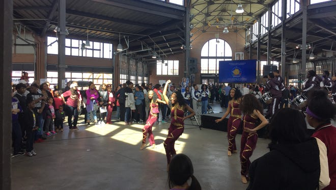 """A drumline and dance squad from Renaissance High School in Detroit performs Sunday April 2, 2017 during the """"S.T.E.A.M.y Showcase"""" event for Detroit Public Schools Community District in Shed 3 at Eastern Market."""