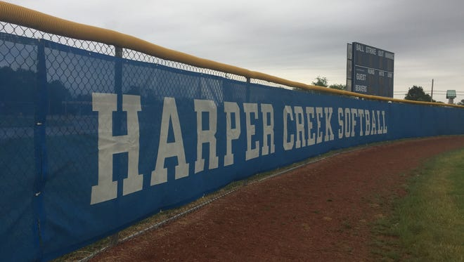 The Harper Creek softball outfield fence.