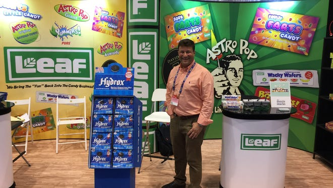 Ellia Kassoff, a Palm Springs High alum who's reviving Leaf brand candies, attends a candy trade show.