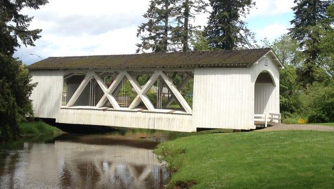 Jordan Bridge is in Stayton's Pioneer Park.