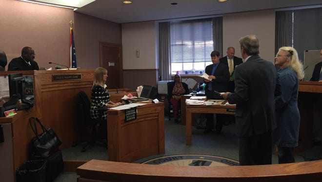 Linda Coomer appears before Judge Dwane Mallory on Nov. 10. Coomer previously filed a written plea of not guilty.