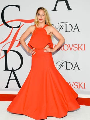 FILE - In this June 1, 2015 file photo, Jemima Kirke arrives at the 2015 CFDA Fashion Awards at Alice Tully Hall in New York. On social media and red carpets, from New York to China, hairy underarms are having a mainstream moment. In time for beach season, women are proudly showing off their growth on Instagram and YouTube. (Photo by Evan Agostini/Invision/AP, File)