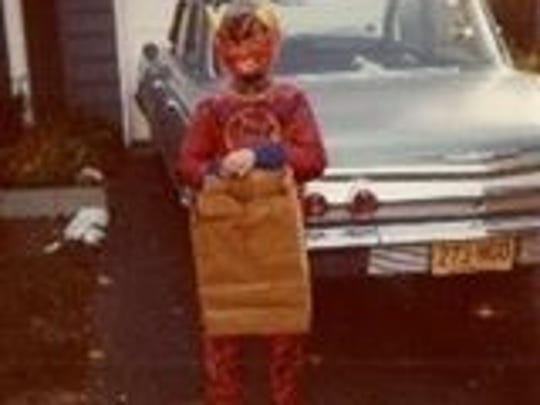 Columnist Brad Wadlow about to hit the streets in search of candy on Halloween sometime in the '70s.