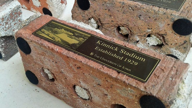 Kinnick Stadium souvenir bricks like these may be in higher demand this year, the 100th birthday year of Nile Kinnick, the stadium's namesake.