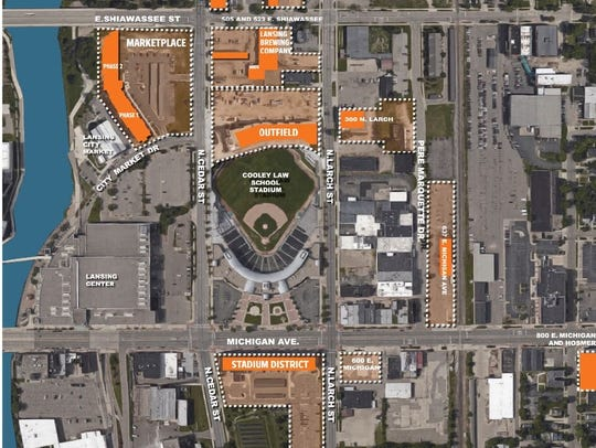An overview of the Stadium District shows properties