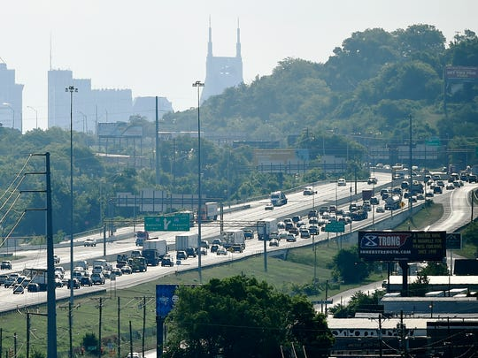 Morning traffic makes its way eastbound on Interstate