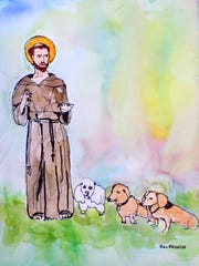 "Bill Branch included his dachshunds Rusty and Roxie (right) in his watercolor painting for Calvary Epsicopal Church's annual ""Blessing of the Animals"" event."