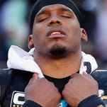 Quarterback Cam Newton #1 of the Carolina Panthers reacts while playing against the Denver Broncos during Super Bowl 50 on Feb. 7, 2016.