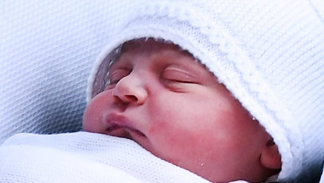 Prince Louis of Cambridge on the day of his birth, April 23, 2018, as he was taken home from St. Mary's Hospital in London.