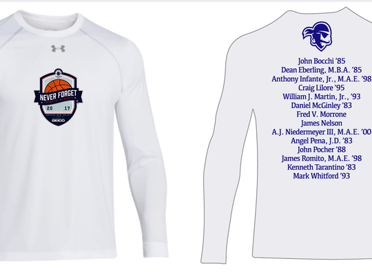 As part of the Never Forget Tribute Classic, Seton Hall will warm up in special Under Armour shirts honoring 14 members of the university community who were killed on 9/11.