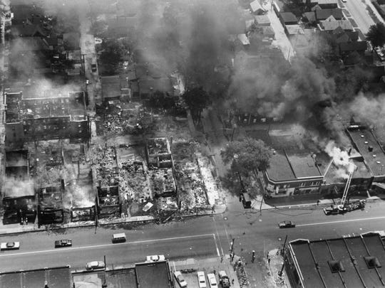 Aerial of 12th Street in Detroit during the 1967 riots.