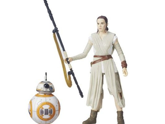A 6-inch 'Star Wars: Black Series' figure of Rey comes with her loyal droid BB-8.