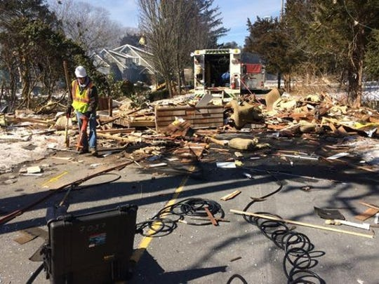 Damage from a gas explosion at Oak Avenue in Stafford Township.