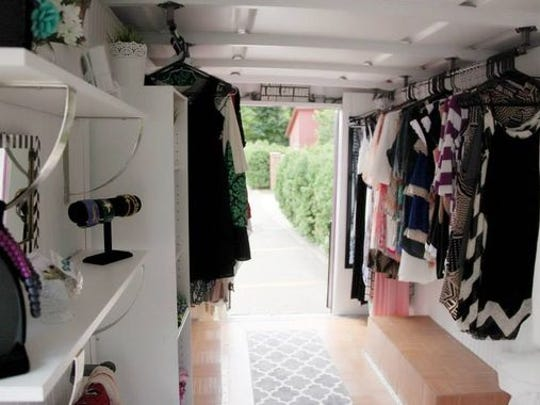 The fashion truck contains every item in the Madison Boutique's inventory and is outfitted with a changing room, benches, lighting, a sound system and air conditioning.