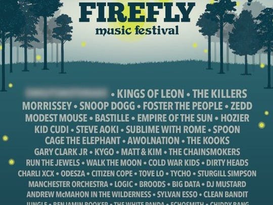 The 2015 Firefly Music Festival poster as released on Tuesday afternoon.