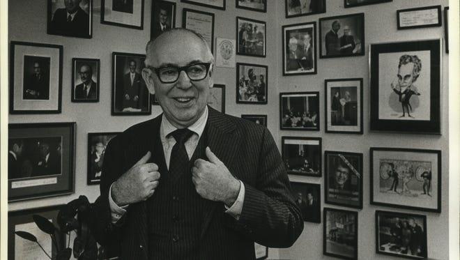 PR firm chairman Robert S. Zigman stands in his office in 1983.