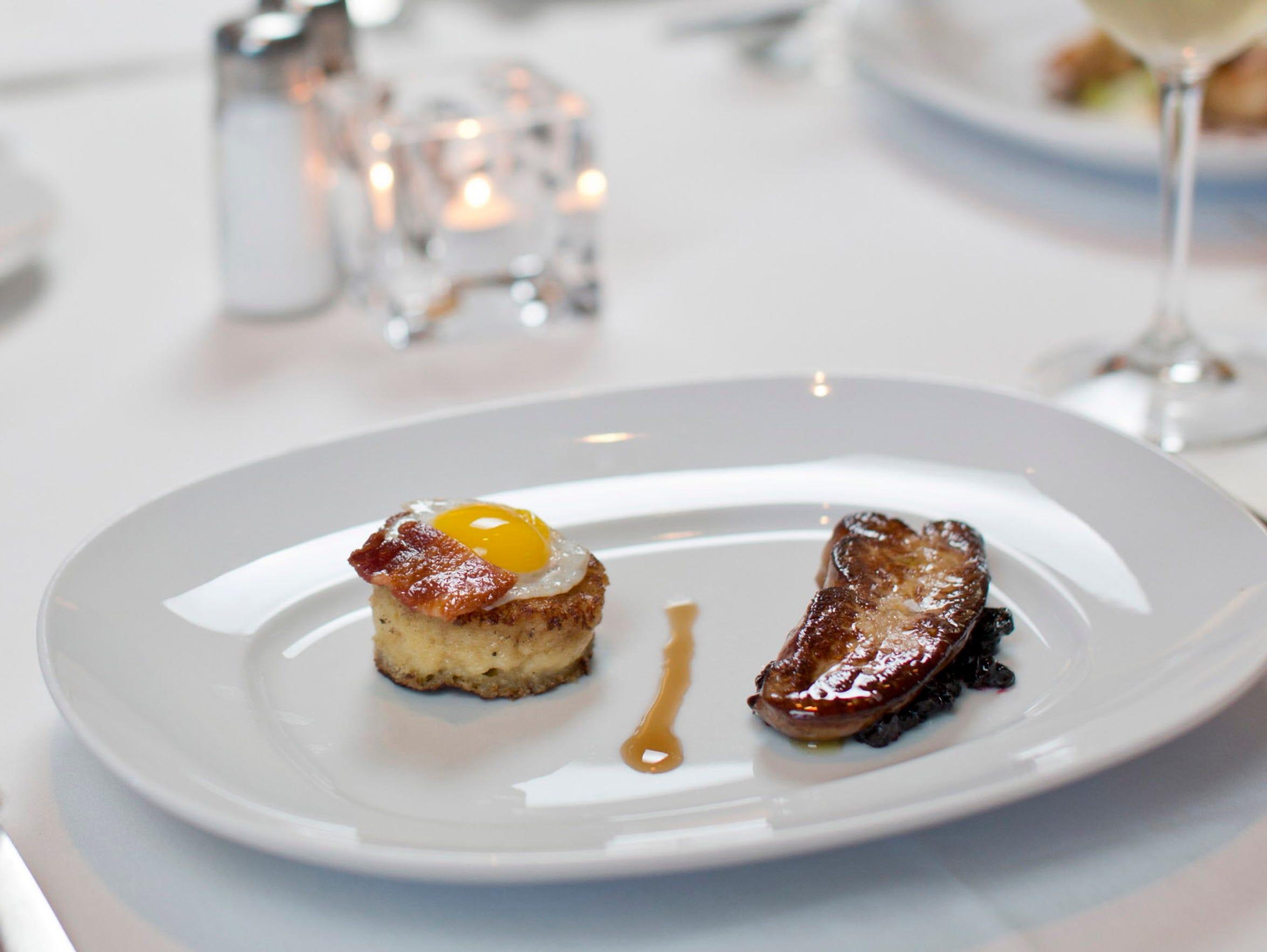 Seared foie gras with Honey Crisp apple compote, brioche
