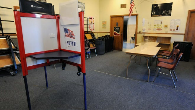 A polling place is set up at West Middle School in Brockton on Monday, Nov. 1, 2020.