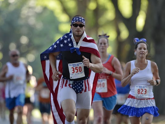 Red white and blue shoes 5K