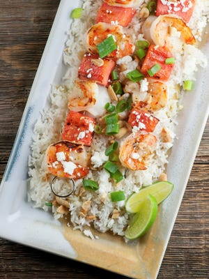 Shrimp and watermelon kebab