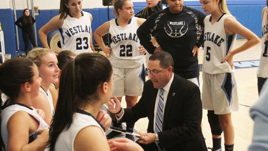 Westlake and Valhalla in girls basketball action at