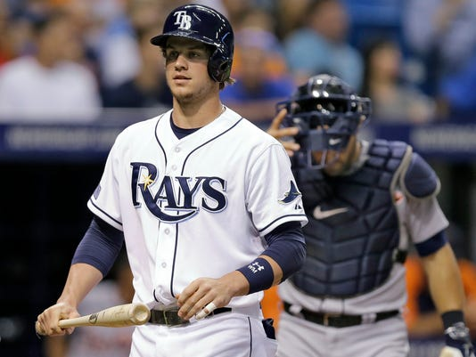 Tampa Bay Rays' Wil Myers heads back to the dugout after striking out against Detroit Tigers starting pitcher Rick Porcello during the fifth inning of a baseball game Wednesday, Aug. 20, 2014, in St. Petersburg, Fla. Myers is playing in his first game since coming off the disabled list. (AP Photo/Chris O'Meara)