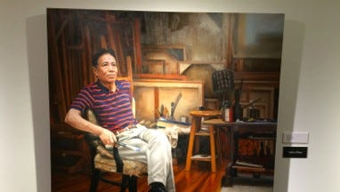 """""""Who is Li Hu"""" by Jon Wos is the winner of the SECURA Fine Arts Exhibition at the Trout Museum of Art."""