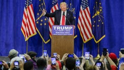 Donald Trump speaks at a campaign rally in South Bend,