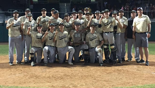 The Boonville High School baseball team poses with its 2017 sectional championship trophy Monday night at Braun Stadium.