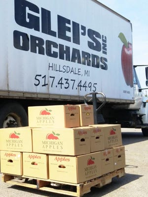 Glei's Orchards of Hillsdale delievered apples to Coldwater Community Schools this summer. Glei's is one of the local growers the school food service buys produce from using the 10 Cents a Meal Grant funding.