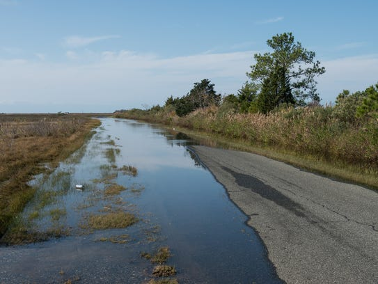 A view of a flood section of Calvary Road in Crisfield