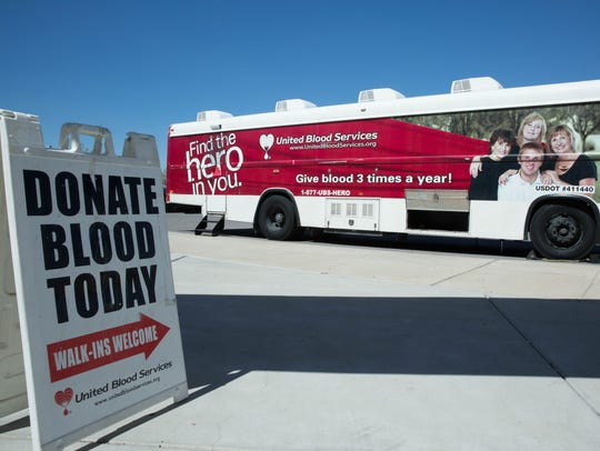 A United Blood Services bus was parked outside the