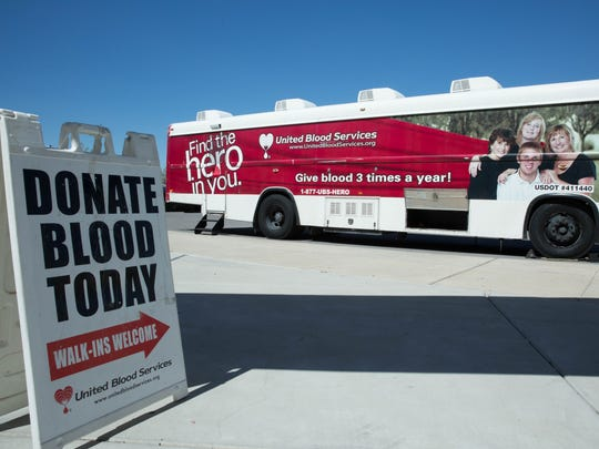 A United Blood Services bus was parked outside the East Mesa campus of the Doña Ana Community College, Tuesday Oct. 3, 2017.