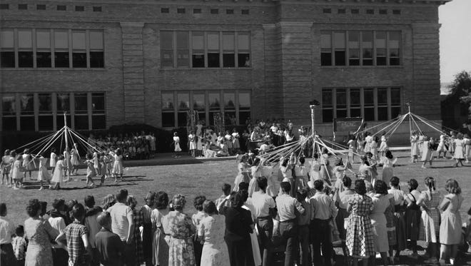 It took the erection of three Maypoles to accommodate all the students in the 1948 May Day celebration at the Franklin School, 256 E. Main St.