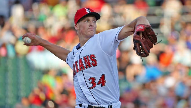 Indians pitcher Tyler Glasnow pitches during the Indianapolis Indians vs the Charlotte Knights baseball game at Victory Field, Saturday, August 1, 2015.