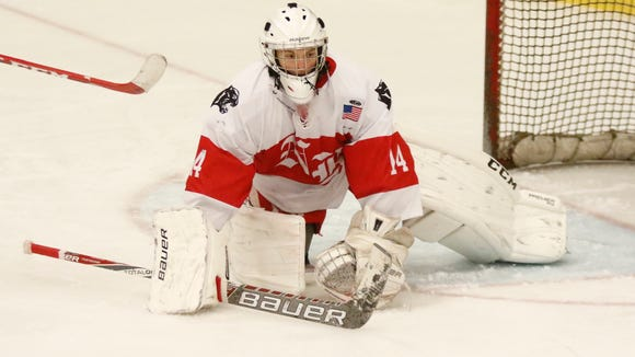 North Rockland goalie Kenny Hoppe  watches a loose puck  during varsity ice hockey action at Sport-O-Rama in Monsey on Saturday.  North Rockland won 6-1.