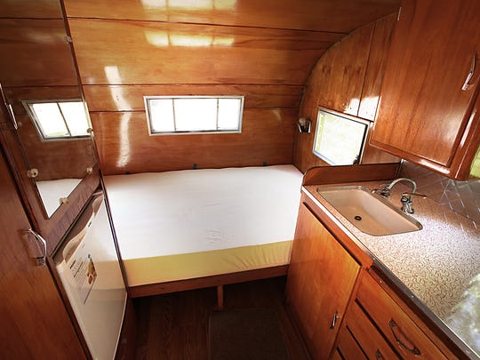 The bedding area within this vintage 1962 Shasta camper.