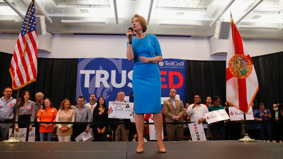 Carly Fiorina speaks during a campaign rally for Ted
