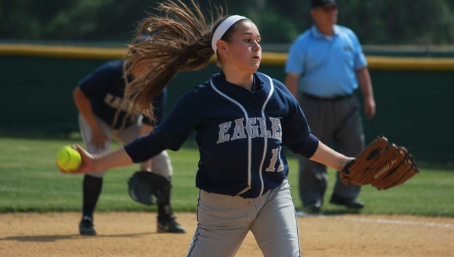Maddie McMahon struck out 11 and helped Middletown South top Raritan in Friday's Shore Conference Tournament game.