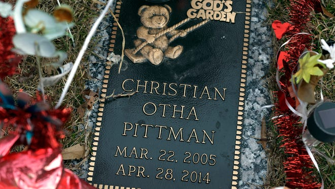 The grave of Amy Pittman's son Christian in Durham, N.C. Amy Pittman was charged in 2014 with manslaughter after 9-year-old Christian was accidentally shot and killed by his older brother.