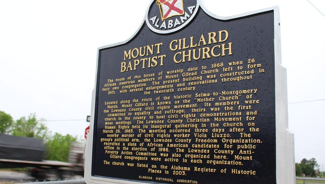Mount Gillard Missionary Baptist Church was the first in Lowndes County to permit mass meetings during the civil rights movement.