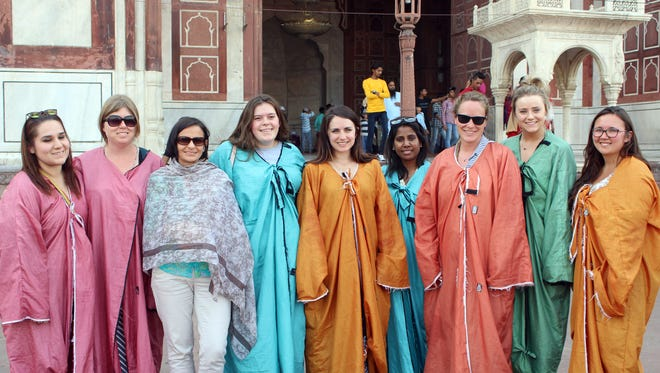 New Mexico State University students and staff visited and learned about some historical and cultural monuments and spaces in Agra and New Delhi, India, before the Women Economic Forum in April. Here they are at the Jama Masjid, one of the largest mosques in India. Pictured from left to right are Ana Garcia Escalante, Emily Creegan, Claudia Trueblood, Kendra Wardon, Mary Catey, Vanaja Kankarla, Angelina Palumbo, Kynzi Creighton, and Mikayla Allan.