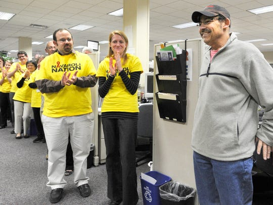 Steve Navaroli returned to work Thursday. Three days later, his YAIAA swimming and diving preview was ready to run for both print and online. (Daily Record/Sunday News -- Eileen Joyce)