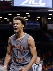 Boston College's Jerome Robinson (1) reacts after scoring during the first half of an NCAA college basketball game against the North Carolina State in the second round of the Atlantic Coast Conference tournament Wednesday, March 7, 2018, in New York. (AP Photo/Frank Franklin II)