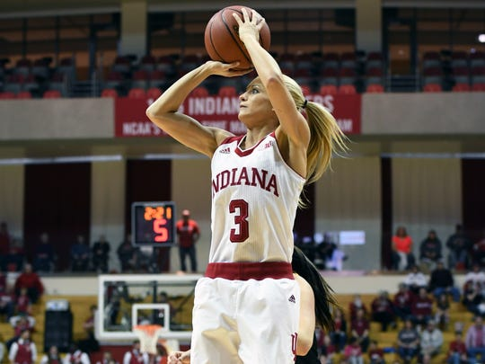 Indiana Hoosiers guard Tyra Buss (3) attempts a shot against Milwaukee at Simon Skjodt Assembly Hall in Bloomington, Ind., on Sunday, March 18, 2018.