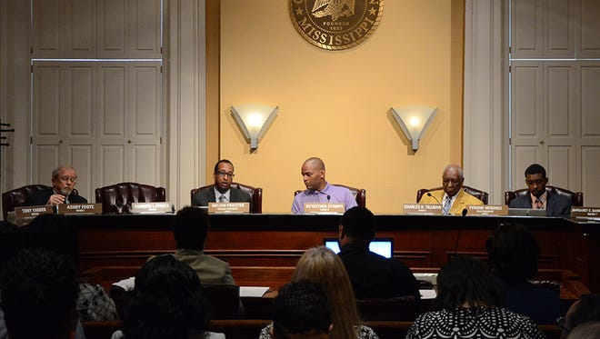 This file photo shows some members of the Jackson city council.