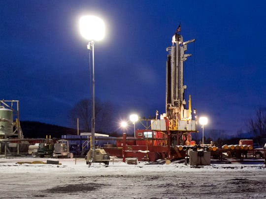 A fracking site in New Milford, Pennsylvania, is seen in this Jan. 17, 2013, photo. A report says a handful of New York landfills have taken in at least 460,000 tons of waste from Pennsylvania drilling sites since 2010.