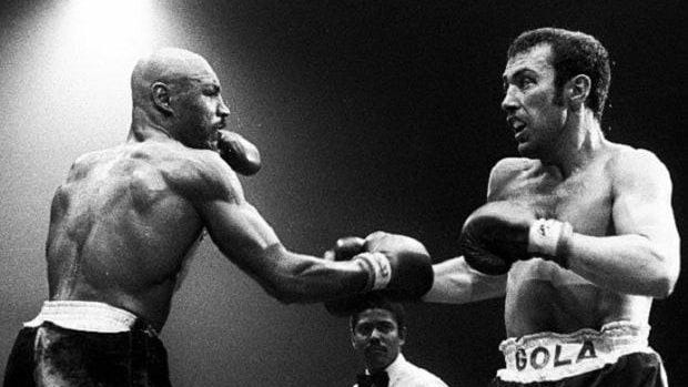 Marvin Hagler fights Alan Minter on Sept. 27, 1980 in London. Hagler won in the third round via technical knockout to win the world middleweight title. It was his first time capturing a world championship belt.