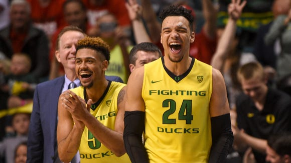 March 12, 2016; Las Vegas, NV, USA; Oregon Ducks guard Tyler Dorsey (5) and forward Dillon Brooks (24) celebrate during the second half in the championship game of the Pac-12 Conference tournament against the Utah Utes at MGM Grand Garden Arena. The Ducks defeated the Utes 88-57. Mandatory Credit: Kyle Terada-USA TODAY Sports
